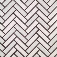 Mosaico espiga 2,5×10. Blanco-gris perla